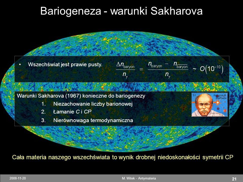 Bariogeneza - warunki Sakharova