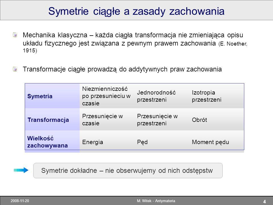Symetrie ciągłe a zasady zachowania