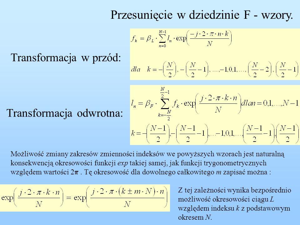 Przesunięcie w dziedzinie F - wzory.
