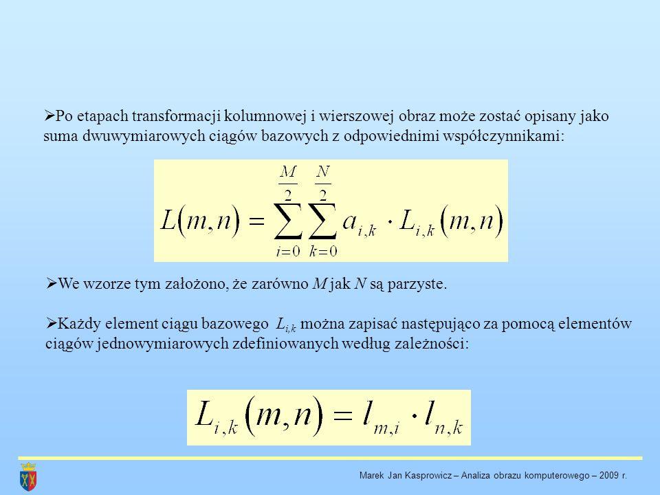 We wzorze tym założono, że zarówno M jak N są parzyste.