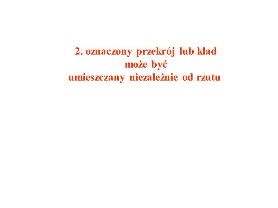2. oznaczony przekrój lub kład umieszczany niezależnie od rzutu