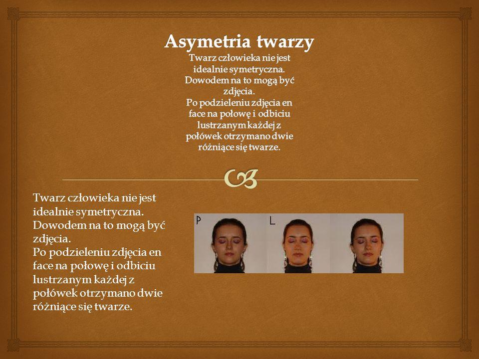 Asymetria twarzy Twarz człowieka nie jest idealnie symetryczna