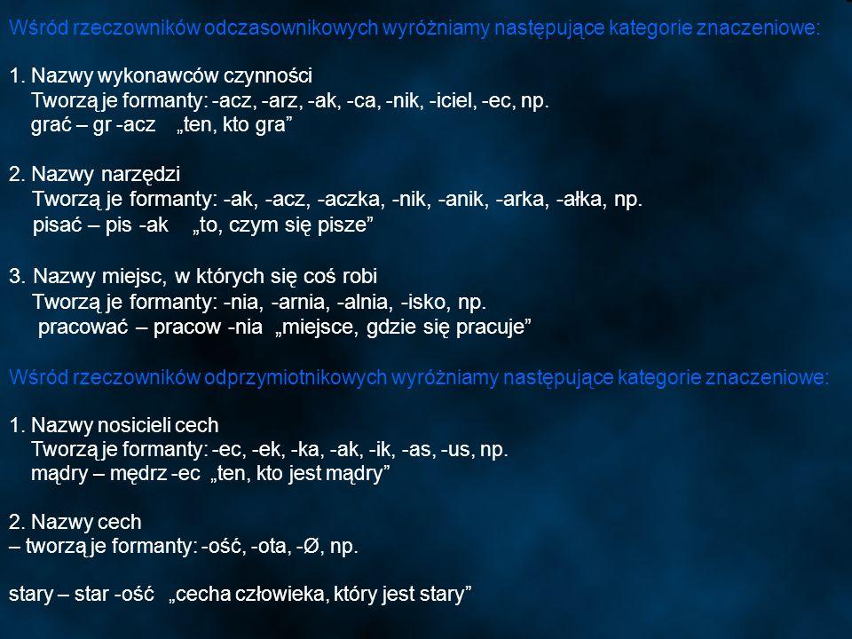 Tworzą je formanty: -ak, -acz, -aczka, -nik, -anik, -arka, -ałka, np.
