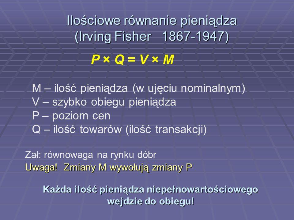 Ilościowe równanie pieniądza (Irving Fisher 1867-1947)