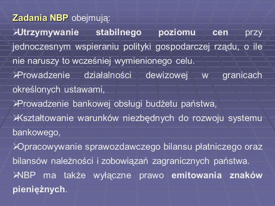 Zadania NBP obejmują: