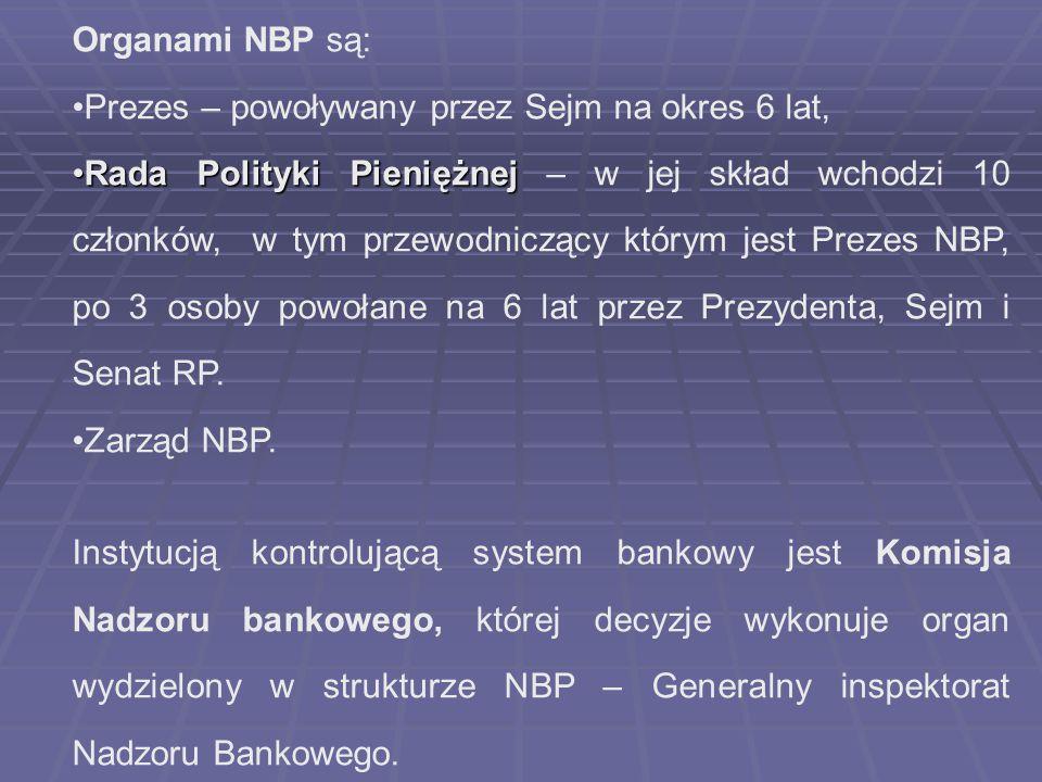Organami NBP są: Prezes – powoływany przez Sejm na okres 6 lat,
