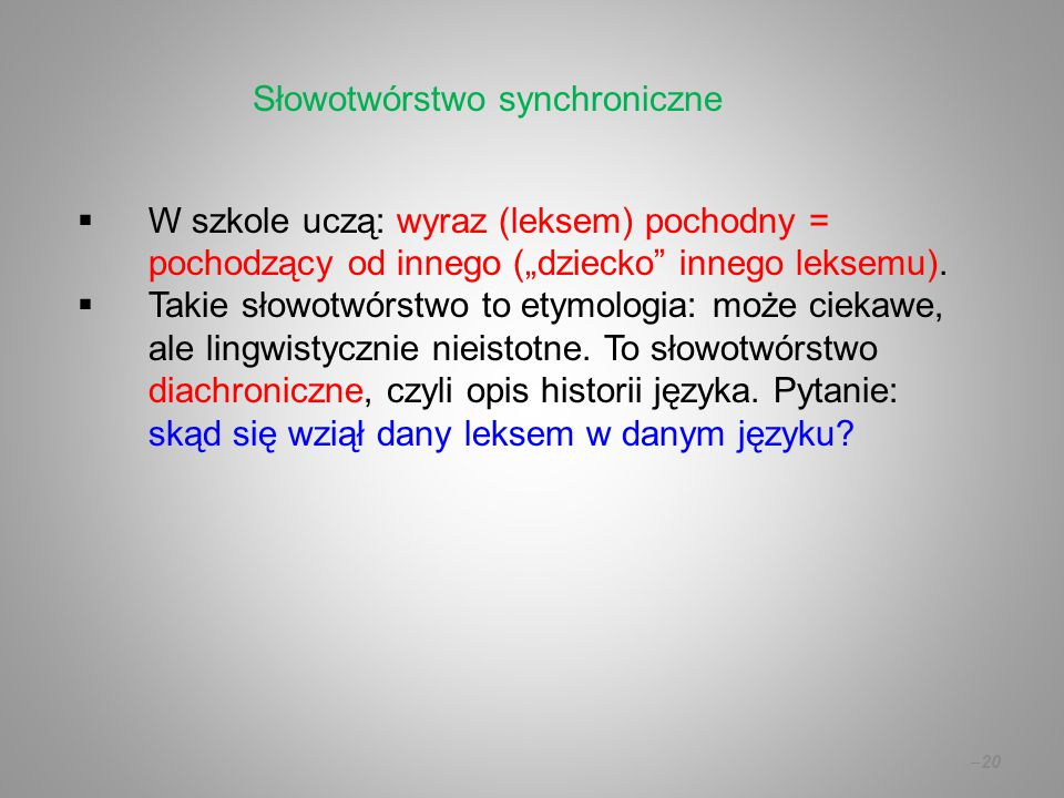 Słowotwórstwo synchroniczne