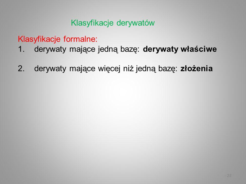 Klasyfikacje derywatów