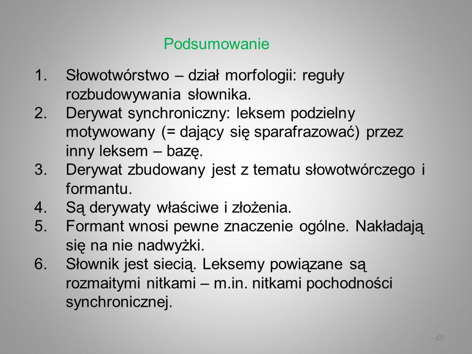 Podsumowanie Słowotwórstwo – dział morfologii: reguły rozbudowywania słownika.