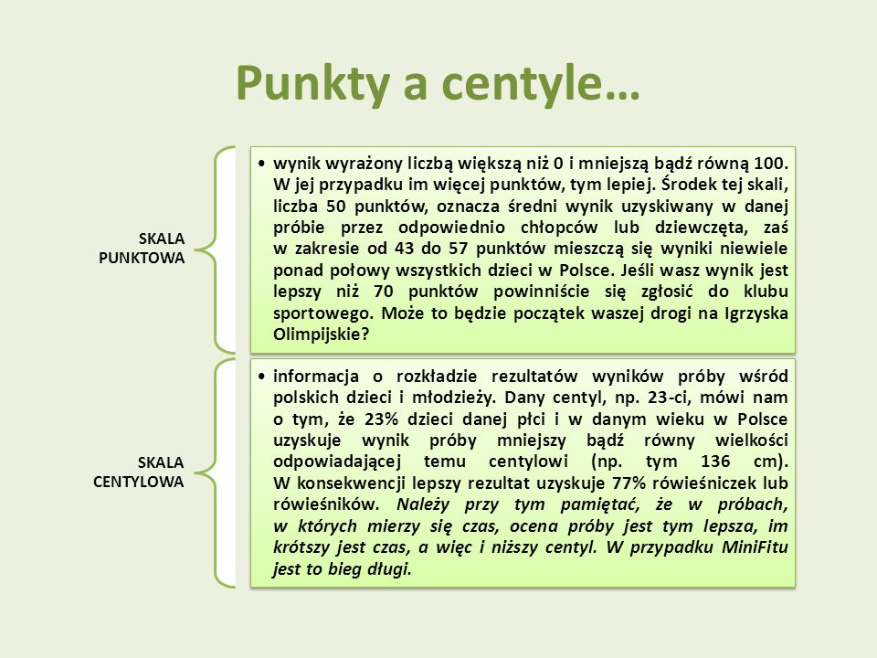 Punkty a centyle… SKALA PUNKTOWA.