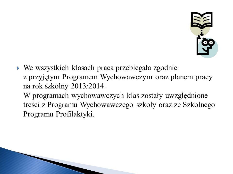 We wszystkich klasach praca przebiegała zgodnie z przyjętym Programem Wychowawczym oraz planem pracy na rok szkolny 2013/2014.