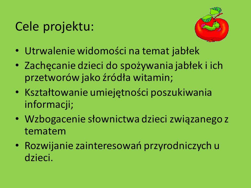Cele projektu: Utrwalenie widomości na temat jabłek