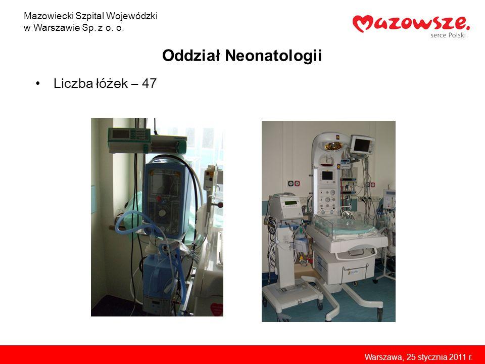 Oddział Neonatologii Liczba łóżek – 47 Mazowiecki Szpital Wojewódzki
