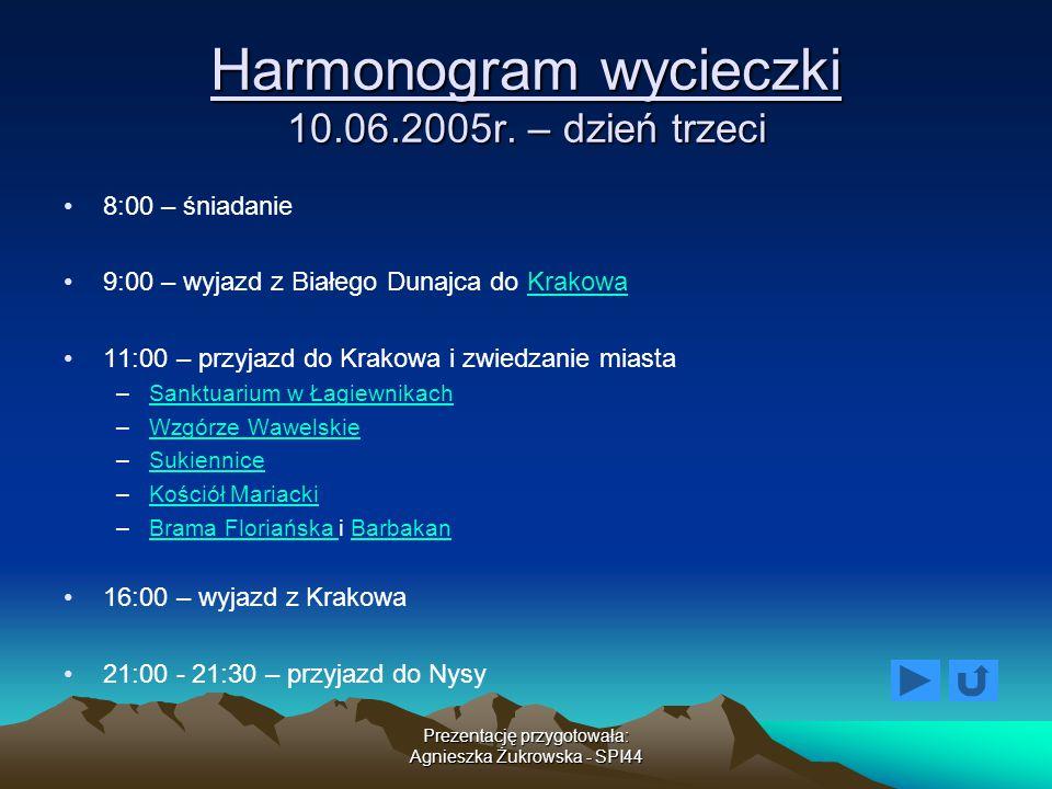 Harmonogram wycieczki 10.06.2005r. – dzień trzeci