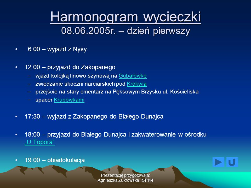 Harmonogram wycieczki 08.06.2005r. – dzień pierwszy