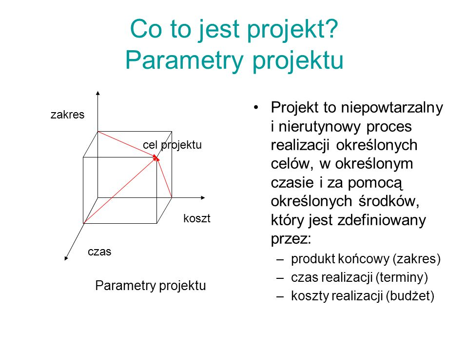 Co to jest projekt Parametry projektu