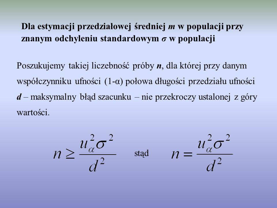 Dla estymacji przedziałowej średniej m w populacji przy znanym odchyleniu standardowym σ w populacji