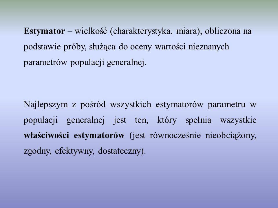 Estymator – wielkość (charakterystyka, miara), obliczona na podstawie próby, służąca do oceny wartości nieznanych parametrów populacji generalnej.