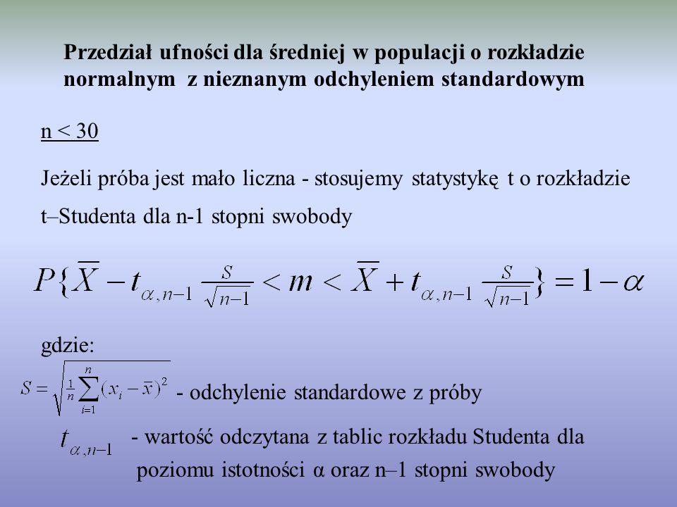 Przedział ufności dla średniej w populacji o rozkładzie normalnym z nieznanym odchyleniem standardowym