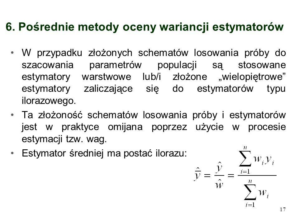 6. Pośrednie metody oceny wariancji estymatorów