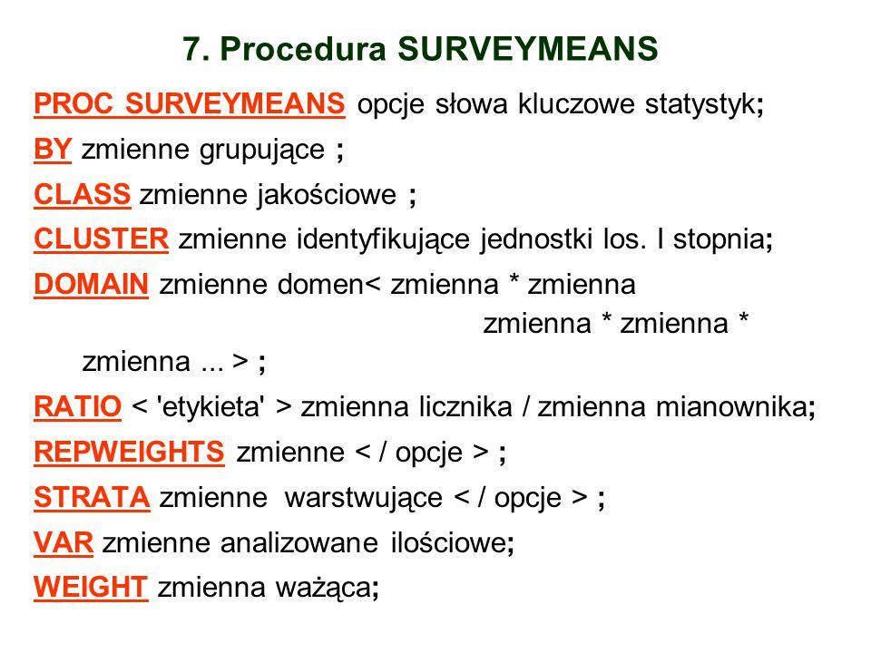 7. Procedura SURVEYMEANS