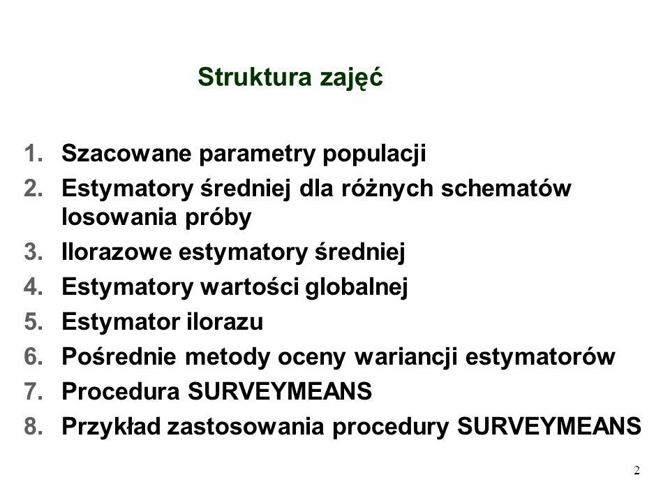Struktura zajęć Szacowane parametry populacji
