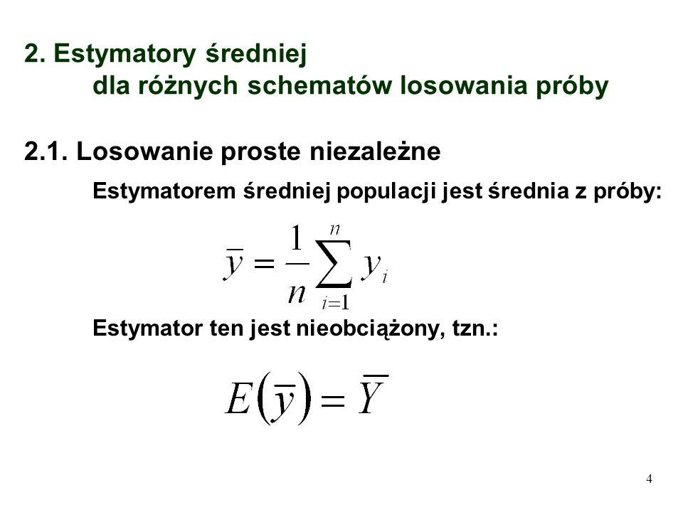 2. Estymatory średniej dla różnych schematów losowania próby