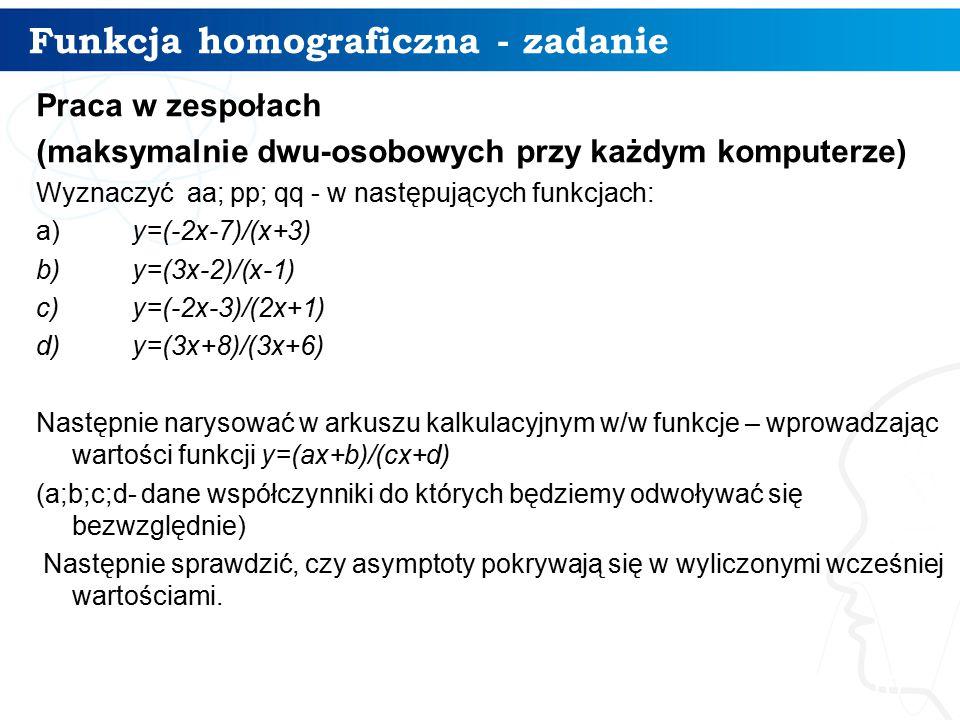 Funkcja homograficzna - zadanie