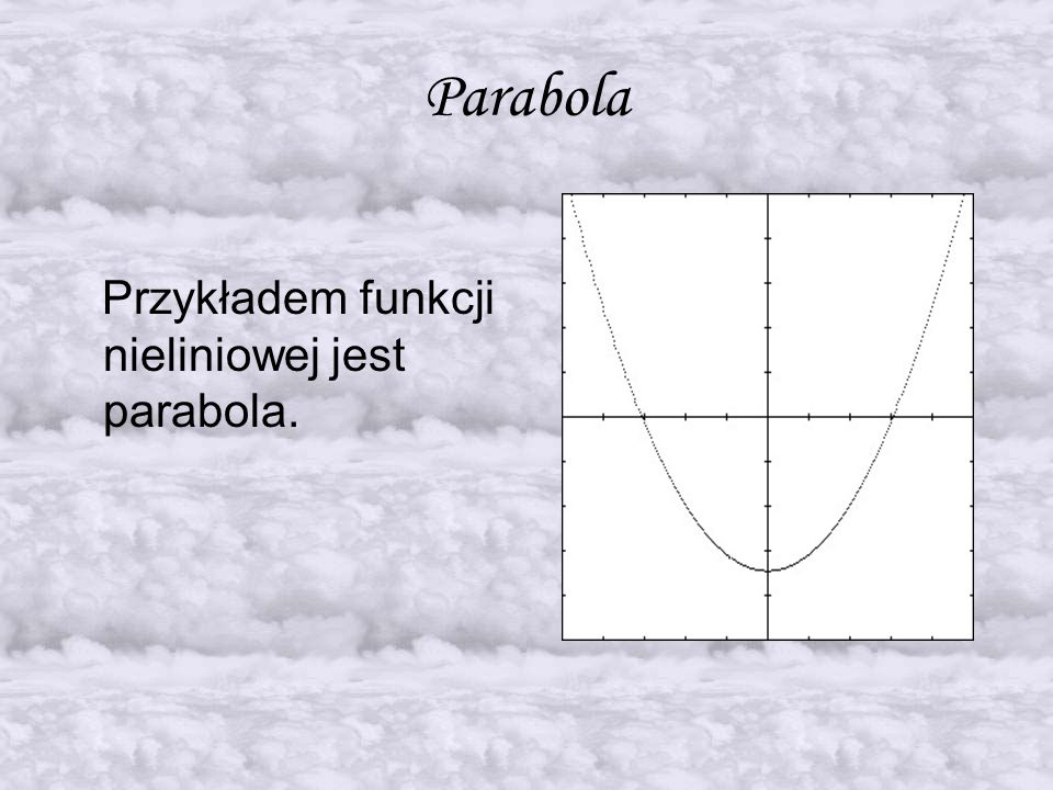 Parabola Przykładem funkcji nieliniowej jest parabola.