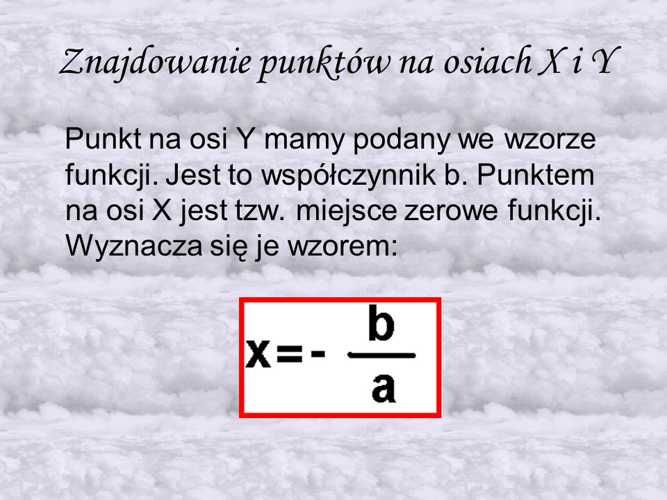 Znajdowanie punktów na osiach X i Y