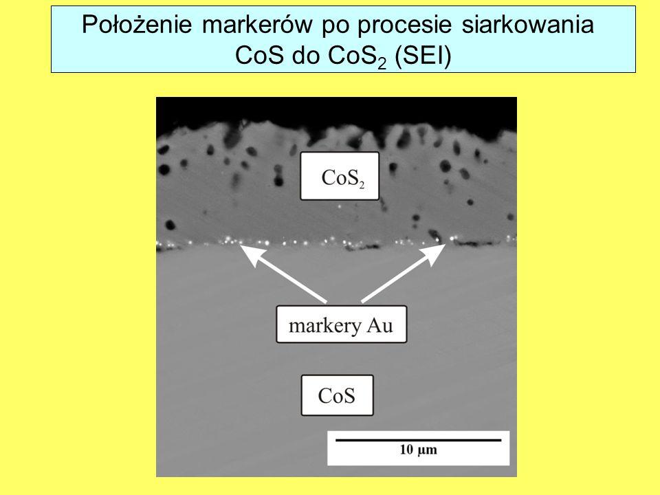 Położenie markerów po procesie siarkowania