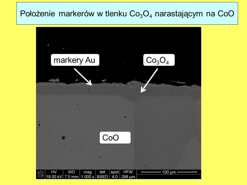 Położenie markerów w tlenku Co3O4 narastającym na CoO