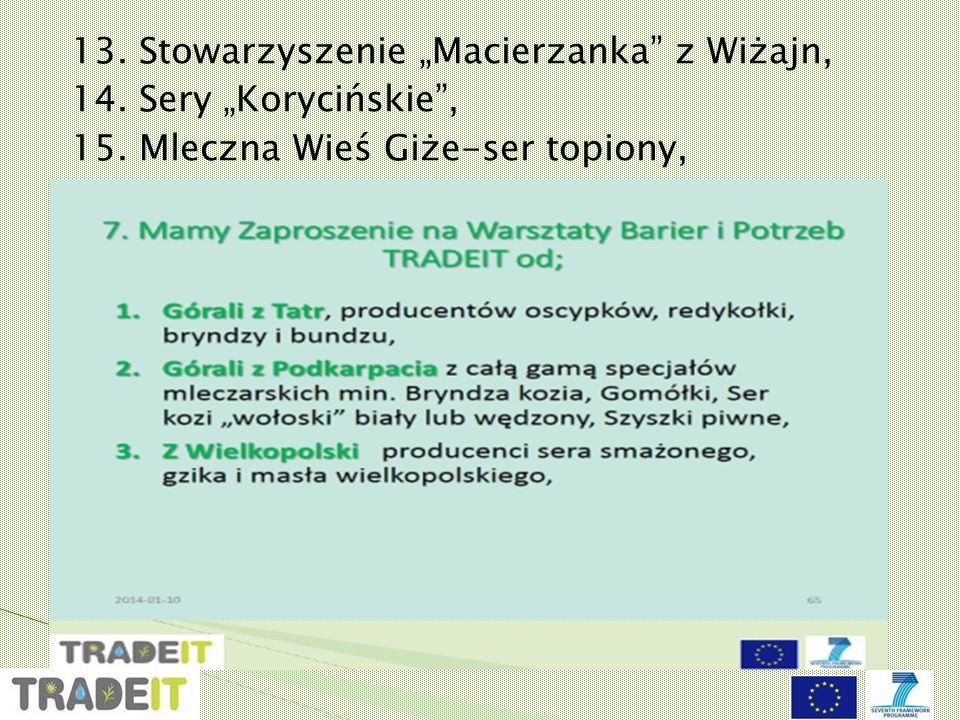 """13. Stowarzyszenie """"Macierzanka z Wiżajn, 14. Sery """"Korycińskie , 15"""