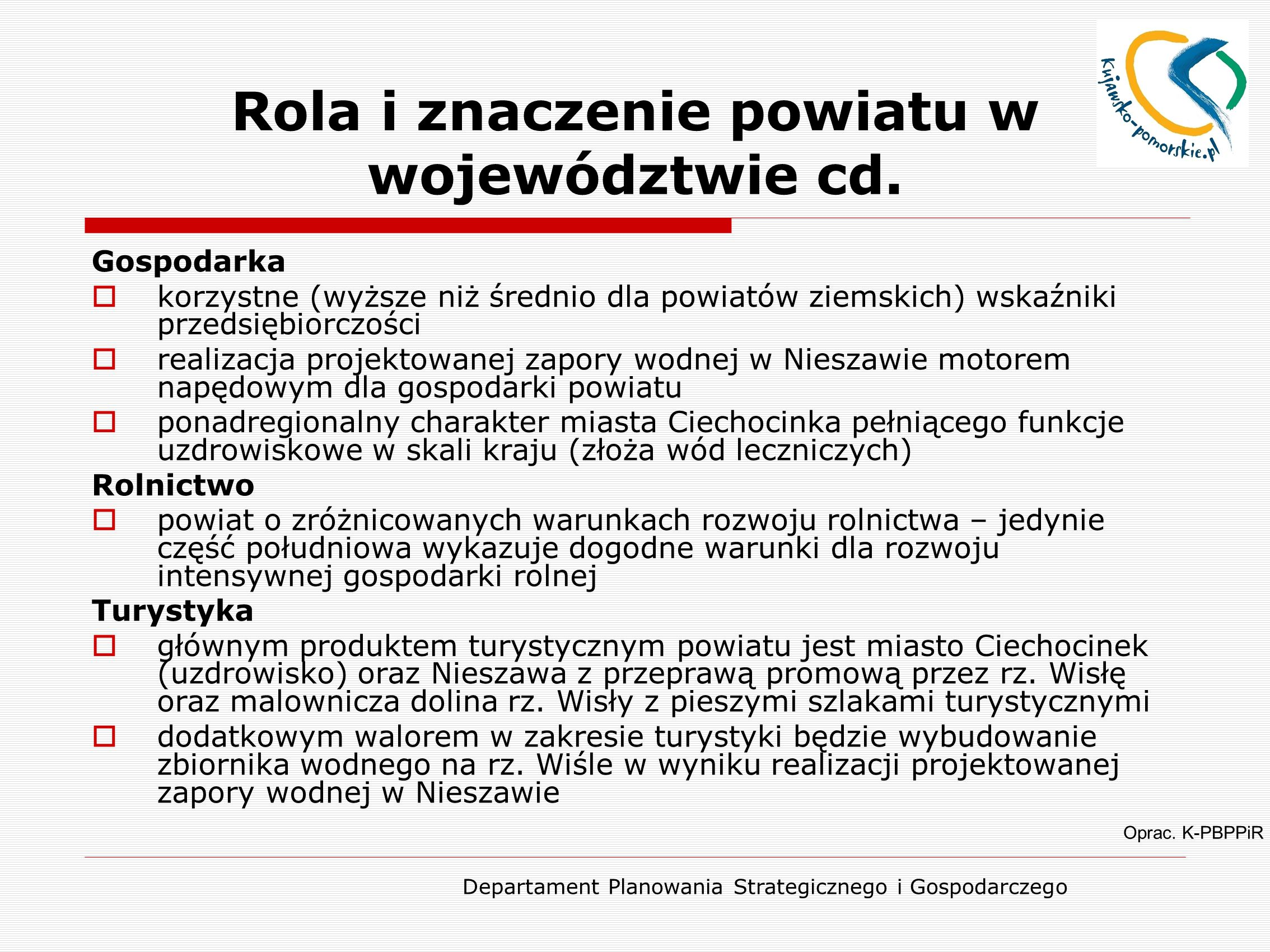 Rola i znaczenie powiatu w województwie cd.
