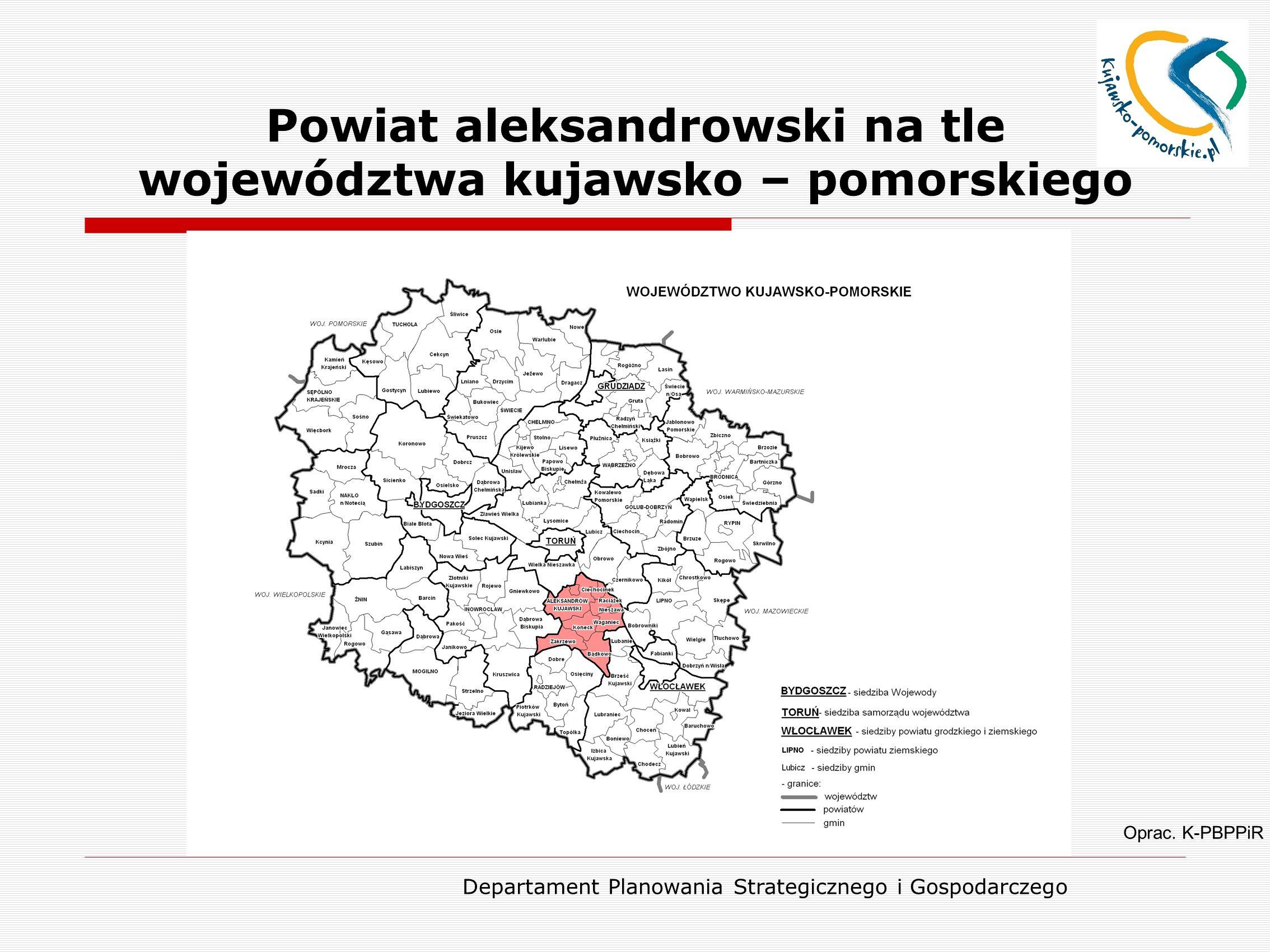 Powiat aleksandrowski na tle województwa kujawsko – pomorskiego