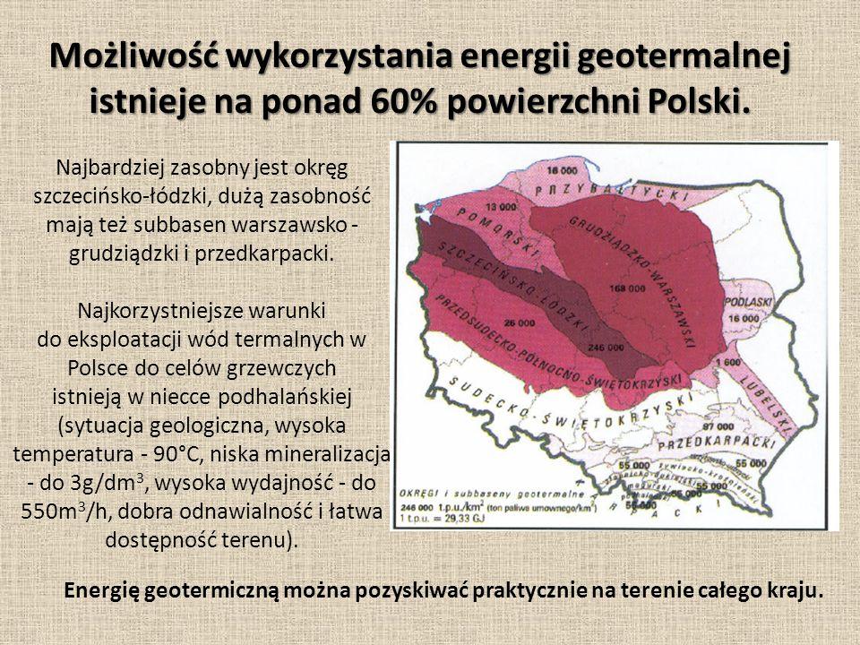 Możliwość wykorzystania energii geotermalnej istnieje na ponad 60% powierzchni Polski.