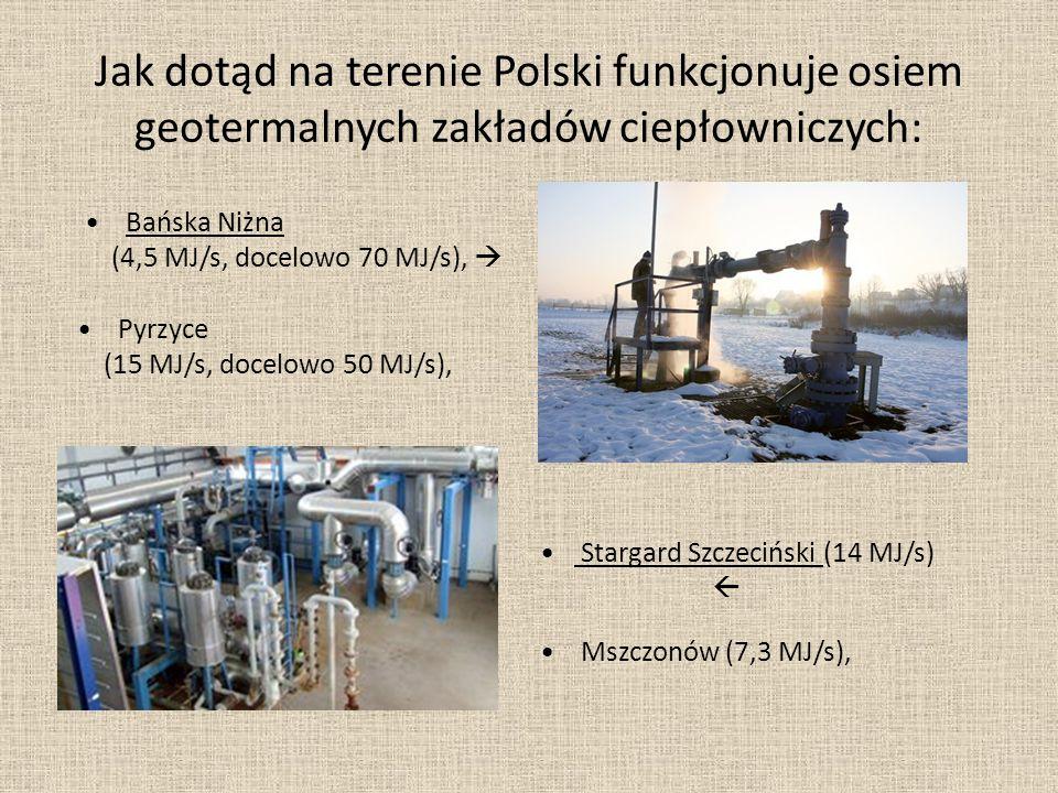 Jak dotąd na terenie Polski funkcjonuje osiem geotermalnych zakładów ciepłowniczych: