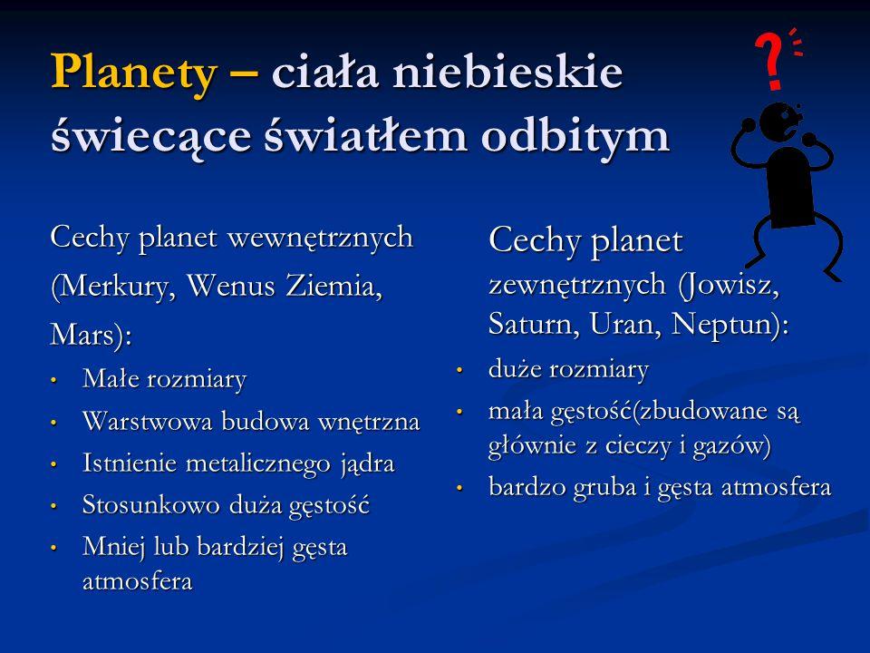 Planety – ciała niebieskie świecące światłem odbitym