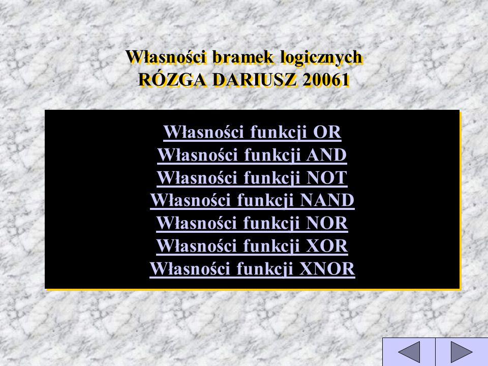 Własności bramek logicznych RÓZGA DARIUSZ 20061