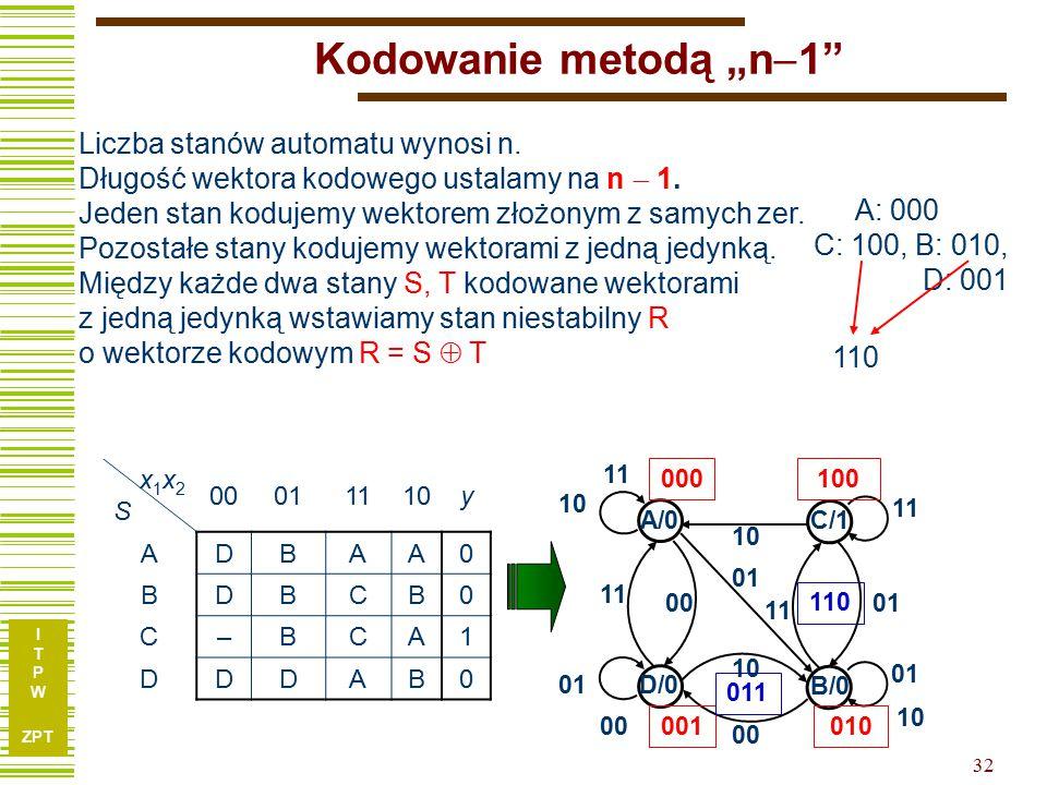 """Kodowanie metodą """"n1 Liczba stanów automatu wynosi n. Długość wektora kodowego ustalamy na n  1."""