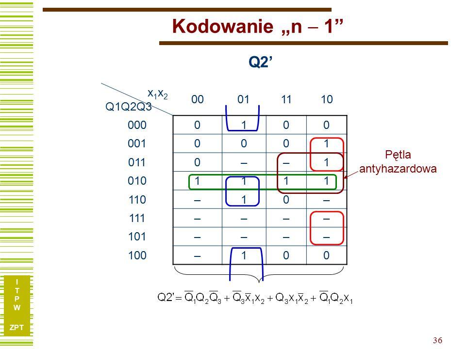 "Kodowanie ""n  1 Q2' x1x2 Q1Q2Q3 00 01 11 10 000 1 001 011 – 010 110"
