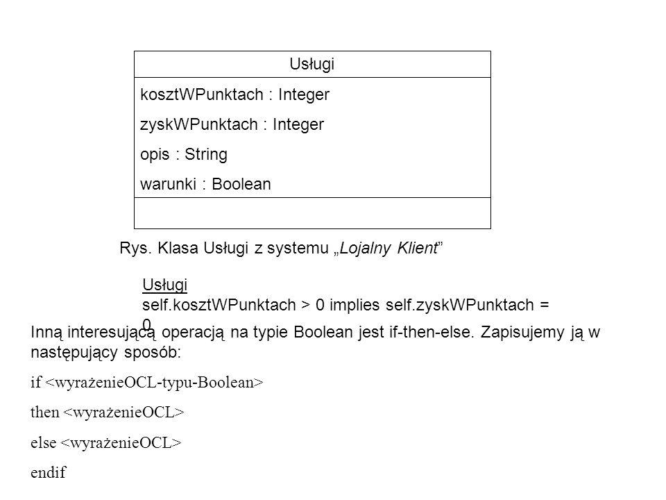 """Usługi kosztWPunktach : Integer. zyskWPunktach : Integer. opis : String. warunki : Boolean. Rys. Klasa Usługi z systemu """"Lojalny Klient"""
