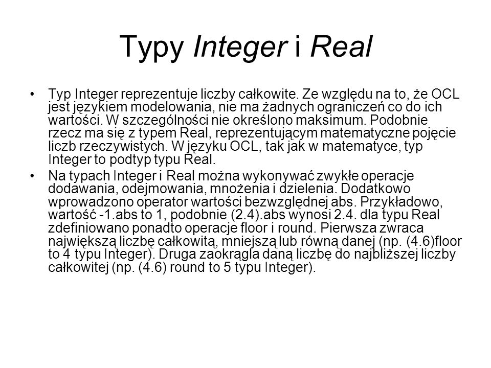 Typy Integer i Real