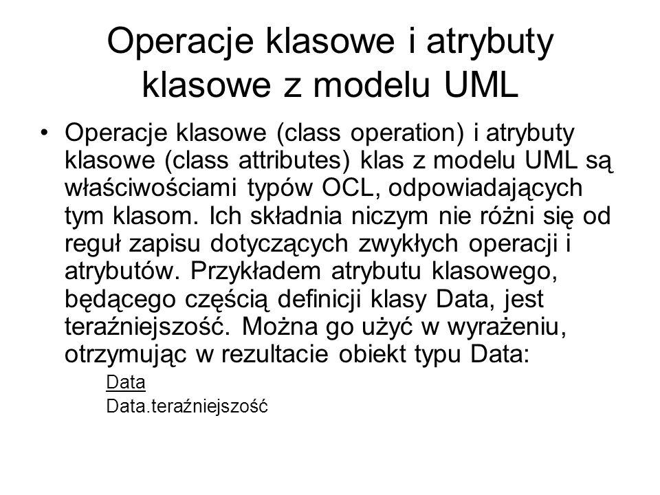 Operacje klasowe i atrybuty klasowe z modelu UML