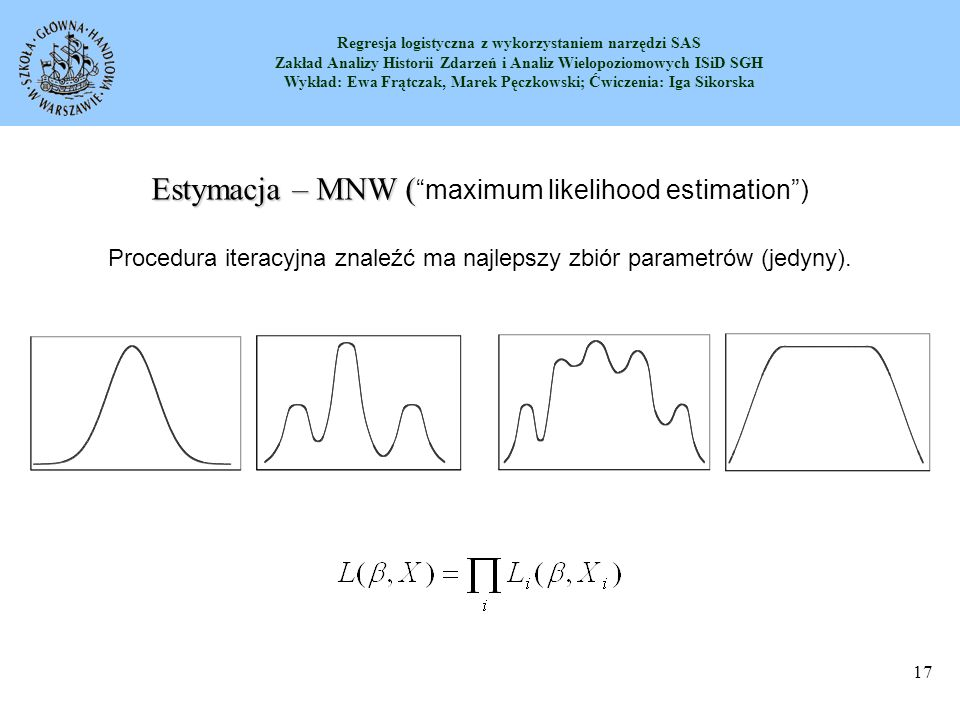 Estymacja – MNW ( maximum likelihood estimation )
