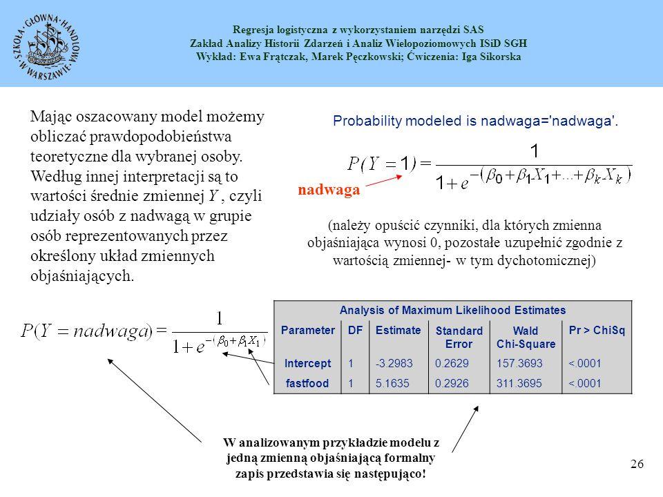 Analysis of Maximum Likelihood Estimates