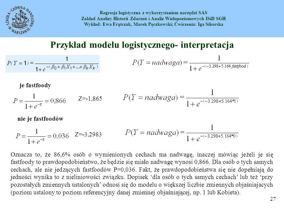 Przykład modelu logistycznego- interpretacja