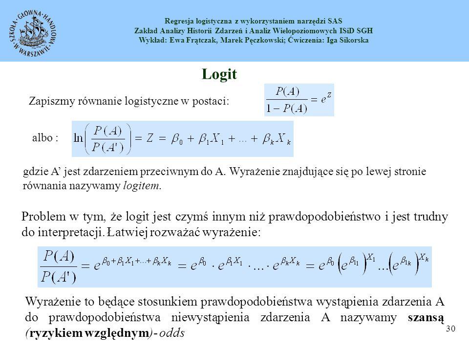 Logit Zapiszmy równanie logistyczne w postaci: albo :