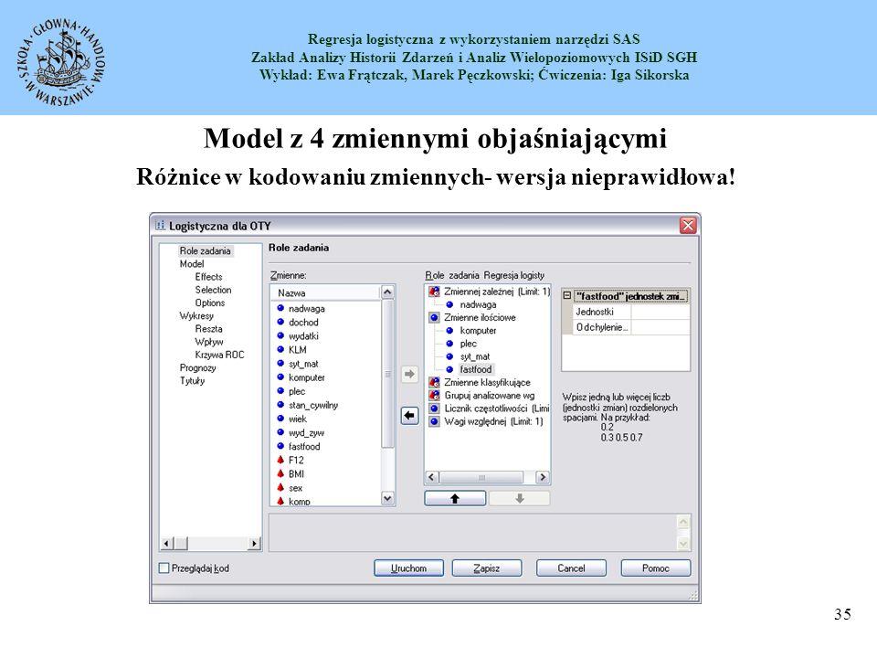 Model z 4 zmiennymi objaśniającymi