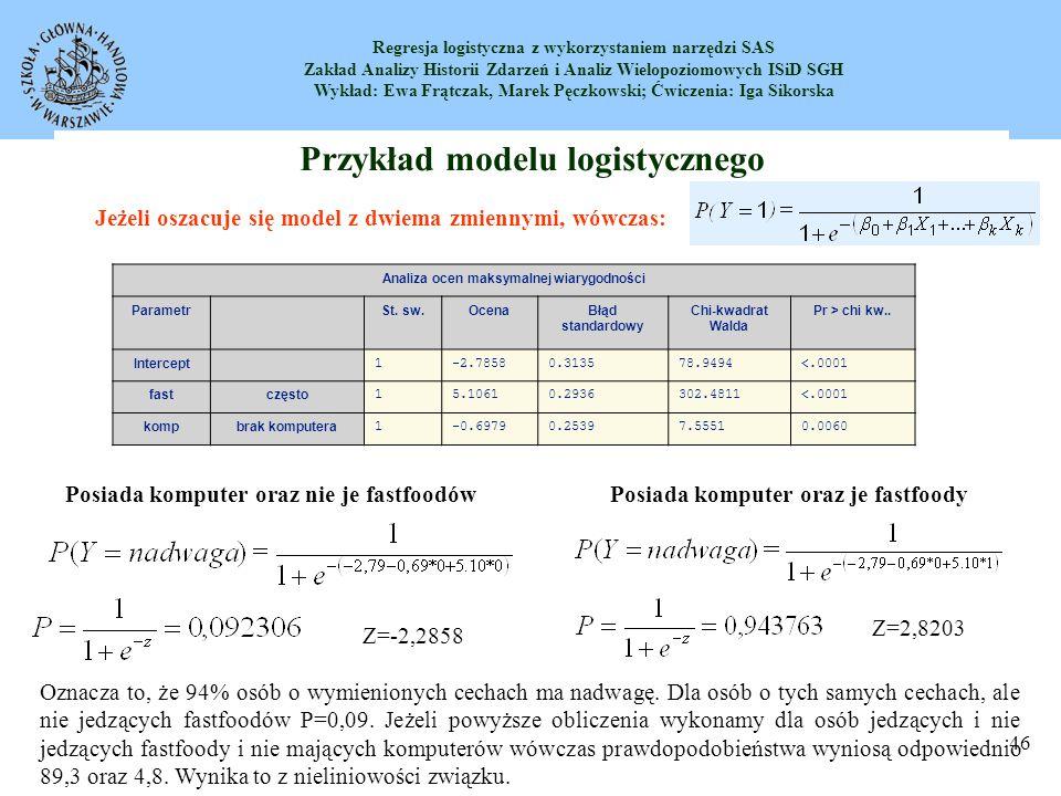 Przykład modelu logistycznego